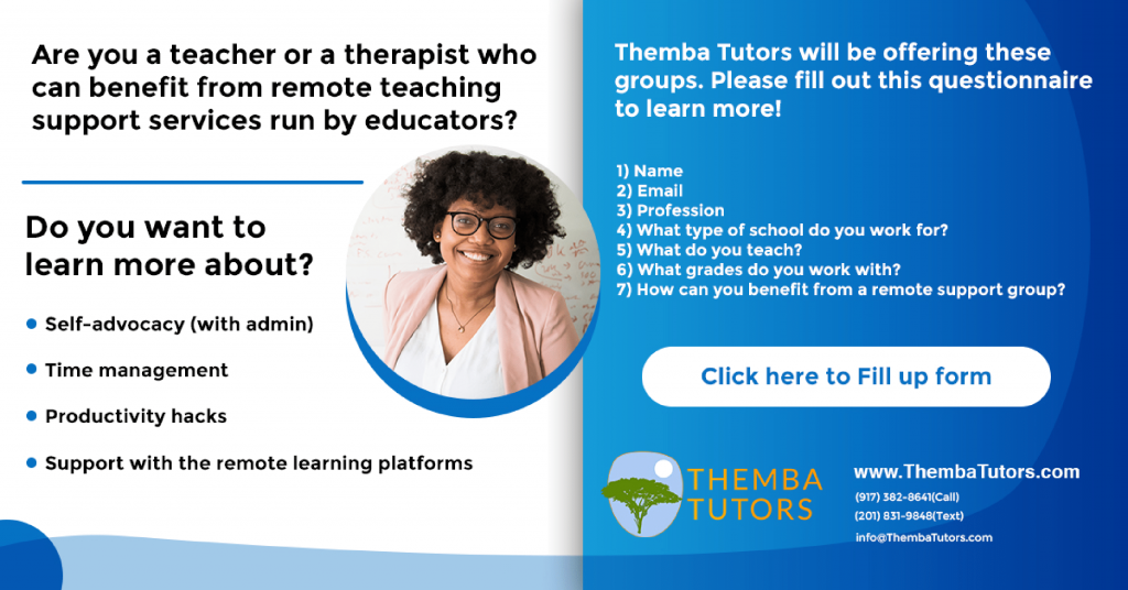 New York Professional Workshops and Events,remote coaching,educators, Themba Tutors