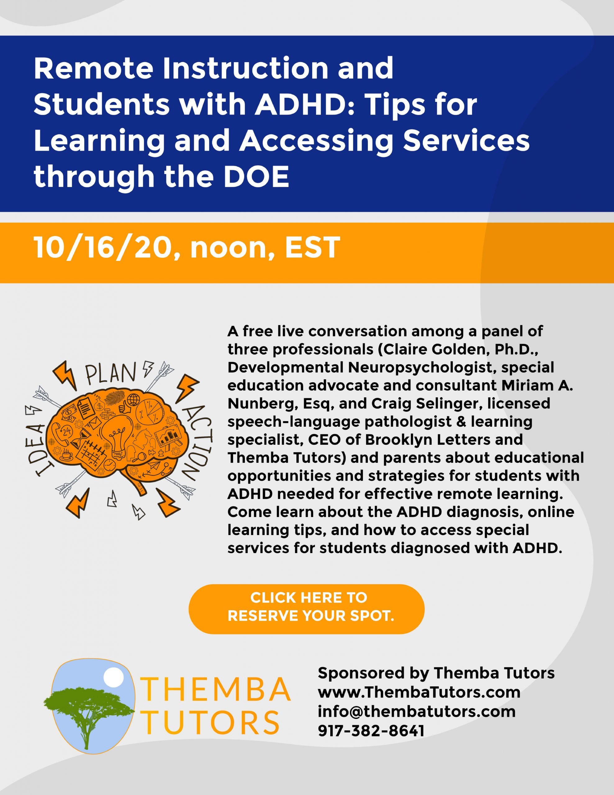students with adhd, Themba Tutors
